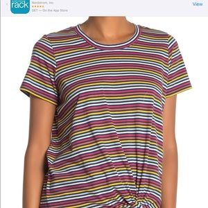 Madewell Rainbow striped front knot top NWT